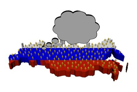 Thoughts of Russian population on map flag illustration illustration
