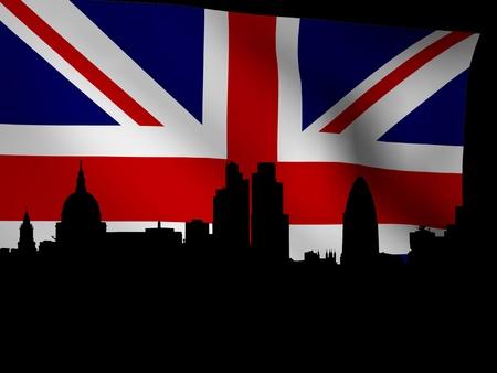 st pauls: London skyline with rippled flag illustration