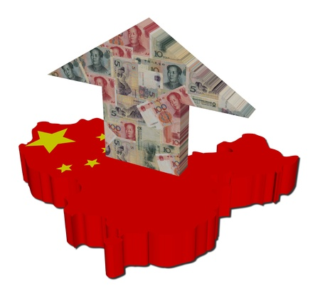 map of china: Chinese yuan arrow on map flag illustration