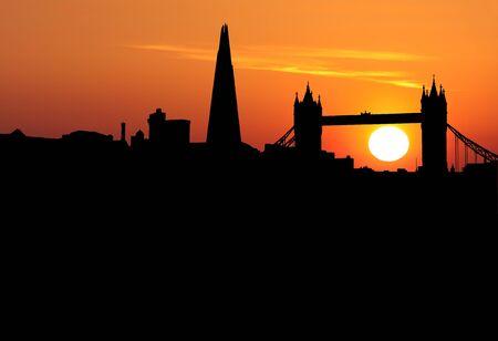 abstract london: London skyline at sunset illustration
