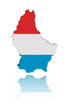 luxembourg: Luxembourg map flag with reflection illustration