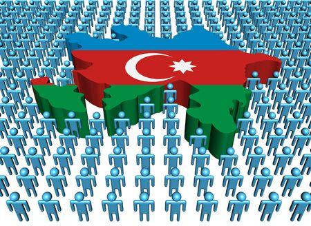 azerbaijan: Azerbaijan map flag with many abstract people illustration Stock Photo