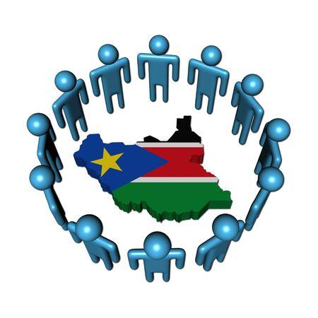 south sudan: Circle of people around South Sudan map flag illustration Stock Photo