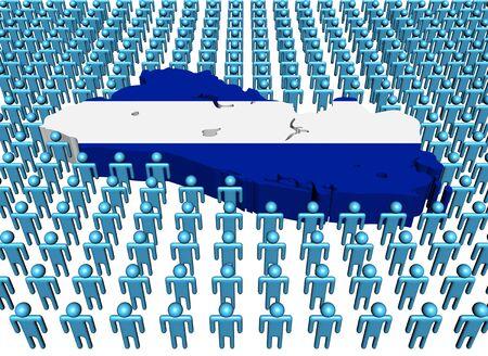 mapa de el salvador: El Salvador Mapa de la bandera rodeada de muchas personas abstracta ilustraci�n