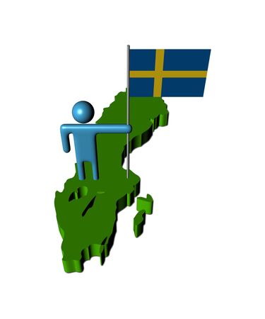 person with Sweden flag on map illustration Stock Illustration - 15660640