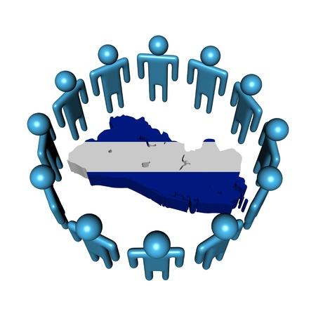 mapa de el salvador: C�rculo de personas en todo El Salvador bandera ilustraci�n mapa Foto de archivo