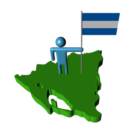 Abstract person with flag on Nicaragua map illustration illustration