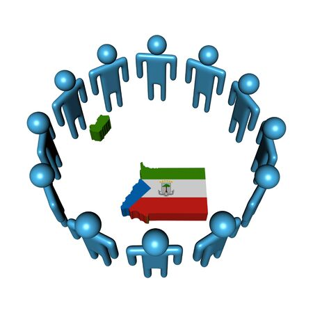 people around Equatorial Guinea map flag illustration illustration