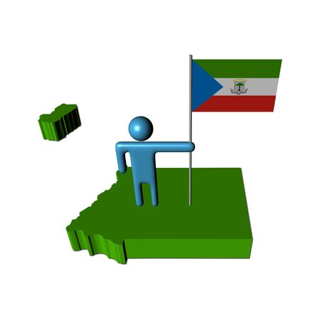 Abstract person with flag on Equatorial Guinea map illustration illustration
