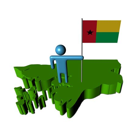 guinea bissau: Abstract person with flag on Guinea Bissau map illustration Stock Photo