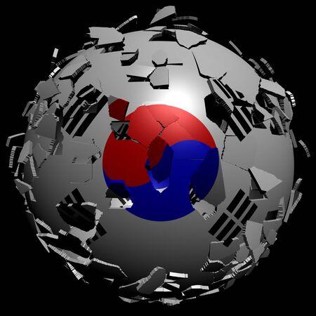 converge: South Korea flag sphere breaking apart illustration Stock Photo