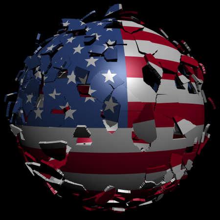 unify: USA flag sphere breaking apart illustration