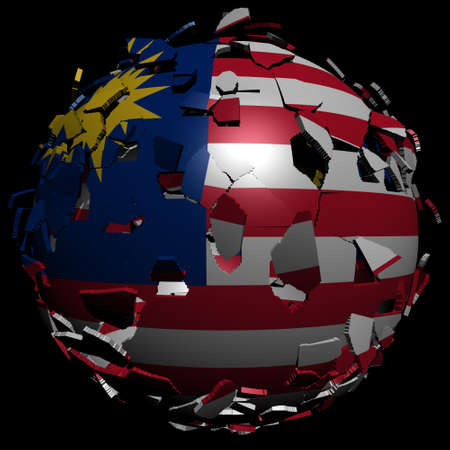 converge: Malaysia flag sphere breaking apart illustration