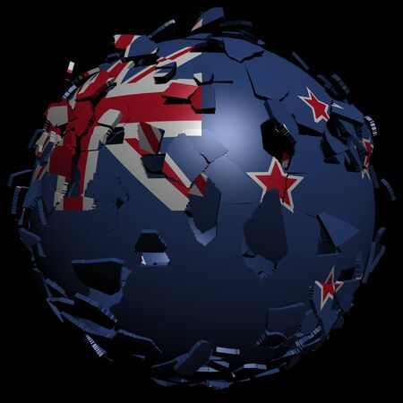 converge: New Zealand flag sphere breaking apart illustration