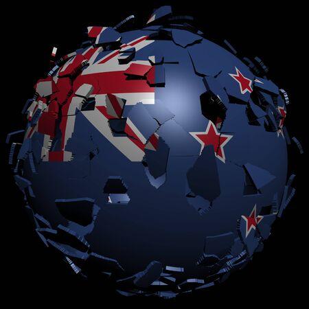 unify: New Zealand flag sphere breaking apart illustration