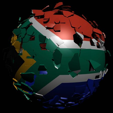 converge:  South Africa flag sphere breaking apart illustration Stock Photo