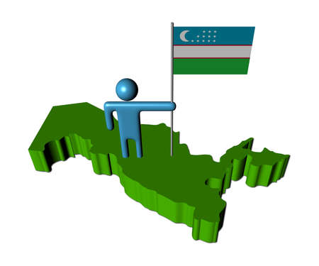 uzbekistan: Abstract person with flag on Uzbekistan map illustration Stock Photo