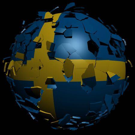 converge: Sweden flag sphere breaking apart illustration