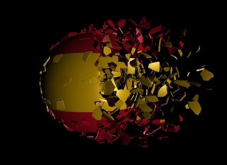 unify: Spain flag sphere breaking apart illustration Stock Photo