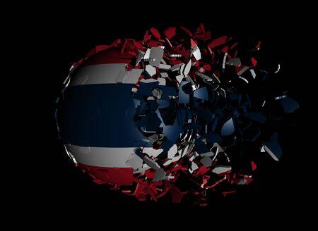 unify: Thailand flag sphere breaking apart illustration Stock Photo