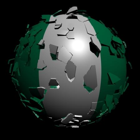 unify: Nigeria flag sphere breaking apart illustration