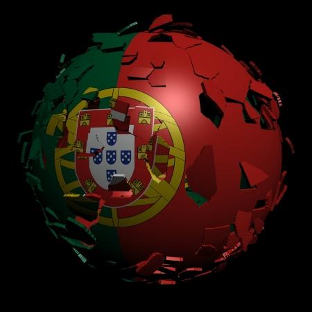 unify: Portugal flag sphere breaking apart illustration