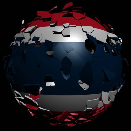 converge: Thailand flag sphere breaking apart illustration Stock Photo
