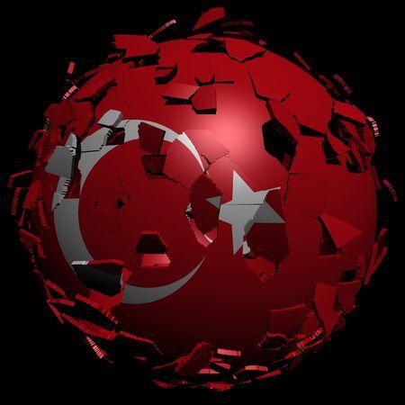converge: Turkey flag sphere breaking apart illustration