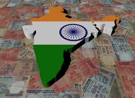 rupees: India Map flag on Indian Rupees illustration
