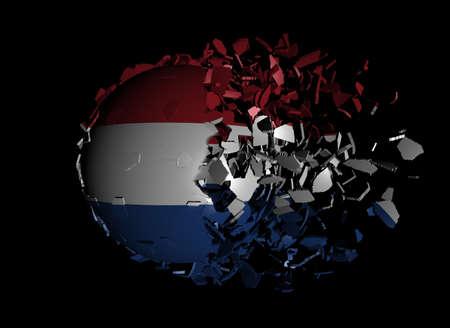 unify: Dutch flag sphere breaking apart illustration