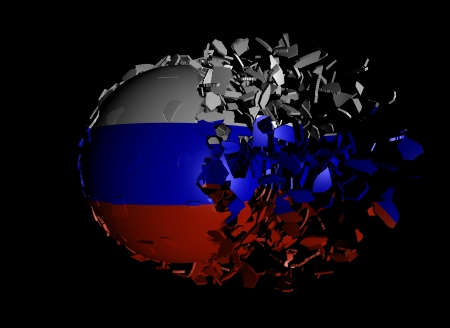 unify: Russian Federation flag sphere breaking apart illustration Stock Photo