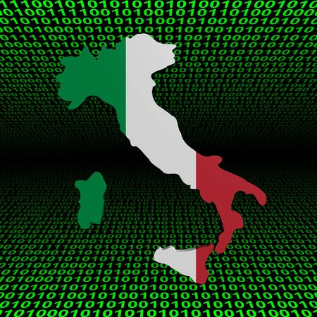 Italy map flag over binary background illustration illustration