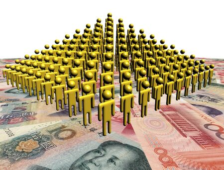 yuan: Pyramid of abstract people on Chinese Yuan illustration Stock Photo