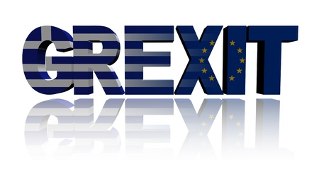 eu: Grexit text with Greek and Eu flags illustration Stock Photo