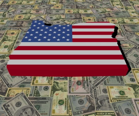 Oregon Map flag on American dollars illustration illustration