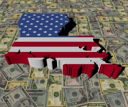 Louisiana Map flag on American dollars illustration illustration