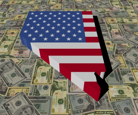 Nevada Map flag on American dollars illustration illustration