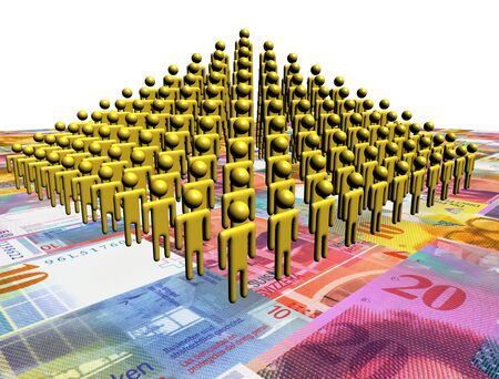 Pyramid of abstract people on Swiss Francs illustration Stock Illustration - 17188131