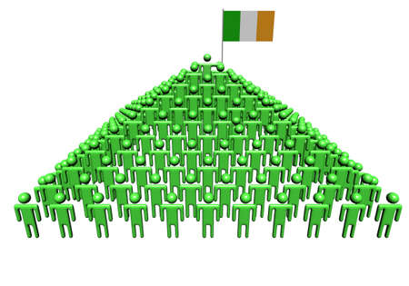 Pyramid of abstract people with Ireland flag illustration illustration