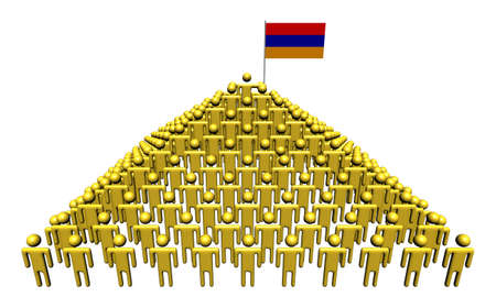 armenian: Pyramid of abstract people with Armenian flag illustration