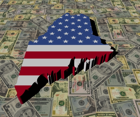 Maine Map flag on American dollars illustration illustration