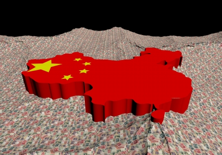 chinese flag: China map flag in abstract ocean of Yuan illustration Stock Photo