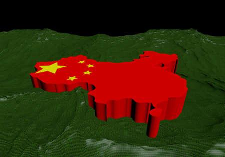 mapa de china: China mapa bandera en el océano abstracta de ilustración binario