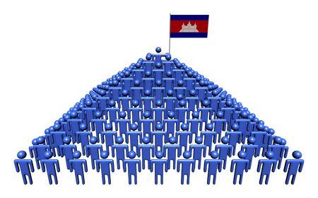 cambodian flag: Pyramid of abstract people with Cambodian flag illustration