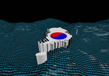 south korean won: South Korea map flag in abstract ocean of Won symbols illustration