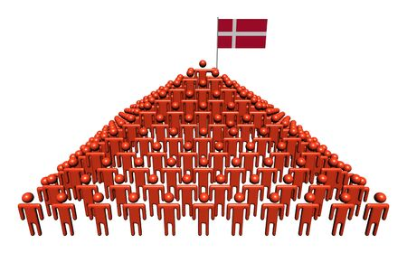danish flag: Pyramid of abstract people with Danish flag illustration Stock Photo