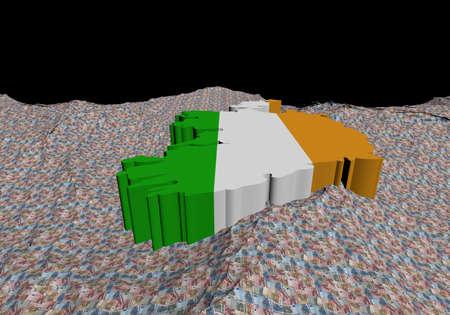 irish map: Ireland map flag in abstract ocean of Euros illustration Stock Photo
