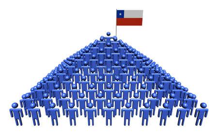 チリの旗の図で抽象的な人のピラミッド 写真素材 - 17614332