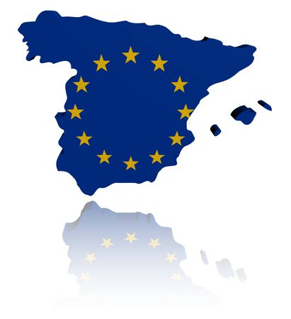 eu: Spain map with EU flag illustration Stock Photo