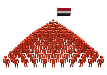 syrian: Pyramid of abstract people with Syrian flag illustration